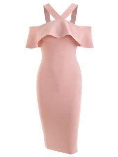 V Neck Flounce Hem Bandage Dress - Pink M