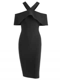 V Neck Flounce Hem Bandage Dress - Black M