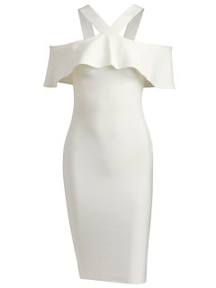V Neck Flounce Hem Bandage Dress - White M