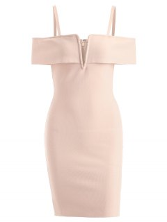 Cold Shoulder Cami Bandage Dress - Apricot M