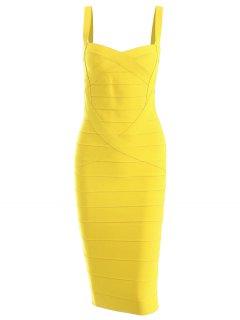 Sweetheart Neck Bandage Dress - Yellow M