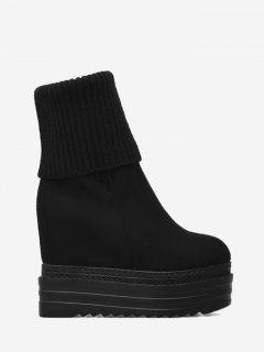Platform Wedge Heel Mid-calf Boots - Black 34