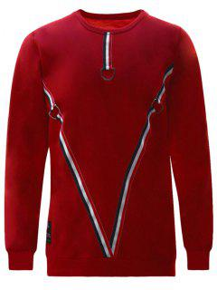 D-ring Striped Sweatshirt - Red S