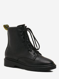 Tie Up Back Pull-tab Faux Leather Boots - Black 36