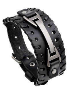 Punk Style Faux Leather Wide Bracelet - Black