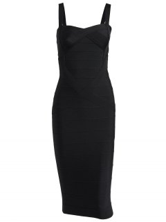 Sweetheart Neck Bandage Dress - Black L