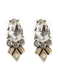 Rhinestone Faux Crystal Geometric Teardrop Earrings - Bronze