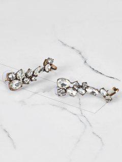 Rhinestone Teardrop Vintage Ear Cuffs - Bronze