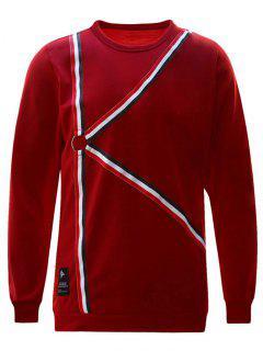 Ring Striped Sweatshirt - Red M