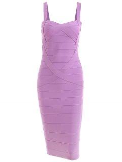 Vestido De Vendaje De Cuello Cariño - Púrpura M