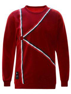 Ring Striped Sweatshirt - Red S