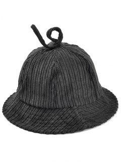 Striped Pattern Embellished Corduroy Bucket Hat - Black