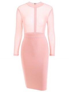 Sheer Mesh Panel Bandage Dress - Pink M