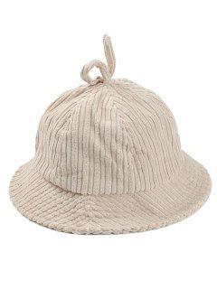 Striped Pattern Embellished Corduroy Bucket Hat - Beige