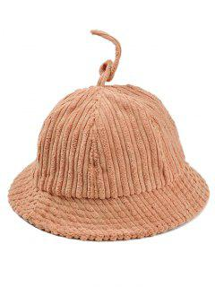 Striped Pattern Embellished Corduroy Bucket Hat - Khaki
