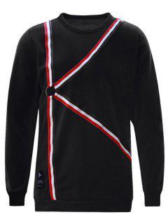 Ring Striped Sweatshirt - Black M