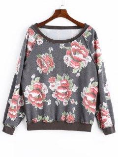 Floral Sweatshirt - Gray M