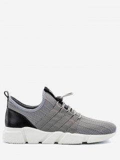 Lightweight Mesh Sneakers With Cord-lock Closure - Gray 40
