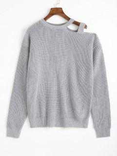 Cold Shoulder Chunky Knit Sweater - Gray
