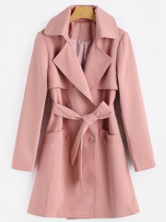 Belted Double Breasted Lapel Coat - Papaya L