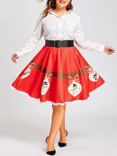 Christmas Plus Size Pom Pom Trimmed Flare Print Skirt - Red 3xl