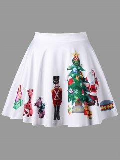 Plus Size Christmas Print Flared Mini Skirt - White 4xl