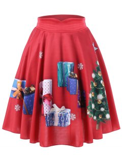 Christmas Plus Size Tree And Gift Print Midi Skirt - Red 4xl