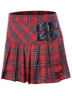 Buckles Plaid Pleated A-line Skirt - Red Xl