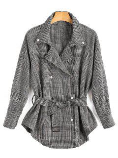 Double Breasted Houndstooth Lapel Jacket - Gray M
