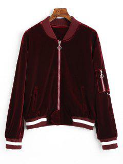 Zip Up Striped Velvet Jacket - Wine Red L