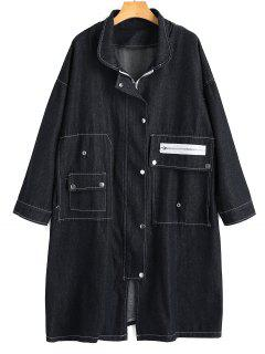 Longline Zippered Denim Coat - Black Xl