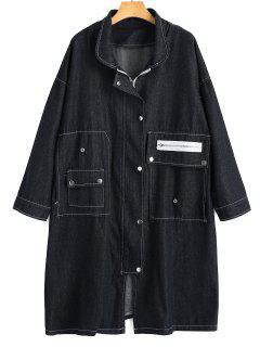 Manteau Denim Long à Fermeture Éclair - Noir Xl