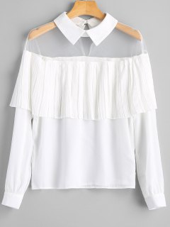 Overlay Mesh Panel Pleated Blouse - White L