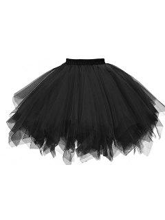 Zaful Mujer Color Caramelo Color Sólido Falda De Tutú Enagua - Negro