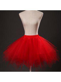 Zaful Mujer Color Caramelo Color Sólido Falda De Tutú Enagua - Rojo