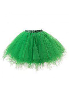 Zaful Mujer Color Caramelo Color Sólido Falda De Tutú Enagua - Verde