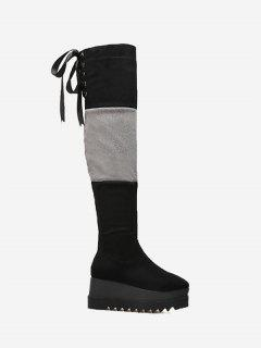Wedge Heel Over The Knee Boots - Black 38