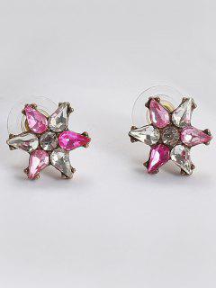 Faux Crystal Teardrop Floral Stud Earrings - Papaya