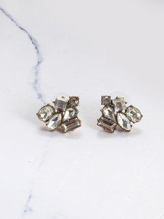 Rhinestoned Tiny Geometric Stud Earrings - Copper Color