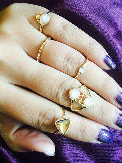 Faux Gemstone Opal Geometric Finger Ring Set - Golden