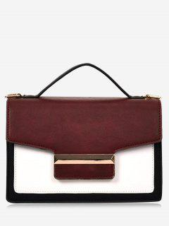 Metallic Contrasting Color Faux Leather Handbag - Red