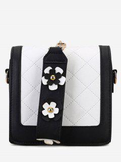 Quilted Color Blocking Flower Handbag - Black
