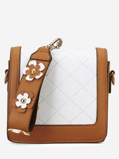 Quilted Color Blocking Flower Handbag - Brown