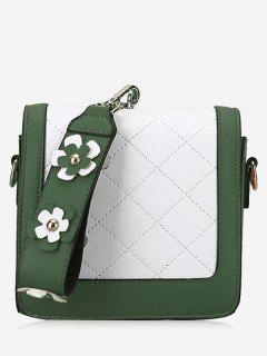 Quilted Color Blocking Flower Handbag - Green