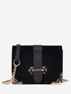 Chain Metallic Crossbody Bag - Black