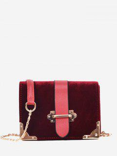 Chain Metallic Crossbody Bag - Wine Red