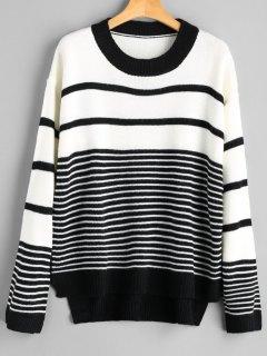 High Low Striped Sweater - Stripe