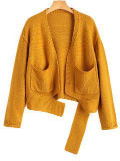 Distressed Hem Pockets Cardigan - Ginger