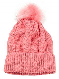 Striped Pattern Decorated Knitted Pom Beanie - Pink