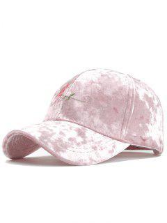 Rose Embroidery Embellished Suede Baseball Hat - Pink